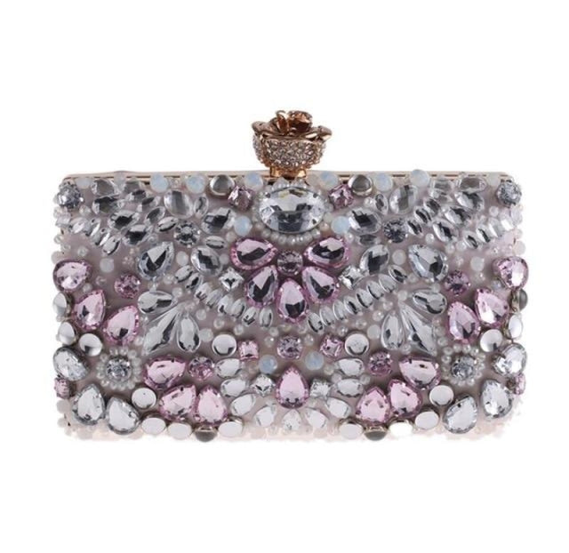 Diamond Clutches Pearls Beaded Wedding Handbags | Bridelily - One Size / Pink - wedding handbags