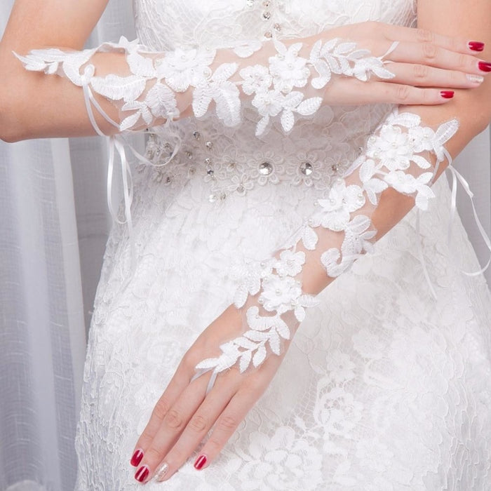 Diamond Flowers Lace Fingerless Wedding Glove | Bridelily - wedding gloves
