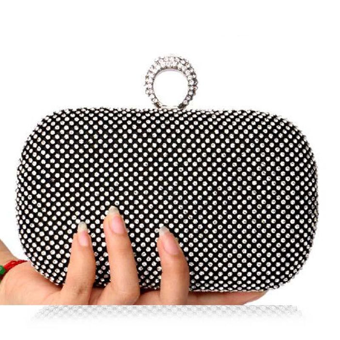 Diamond-Studded Crystal Chain Wedding Handbags | Bridelily - YM1000black / China - wedding handbags