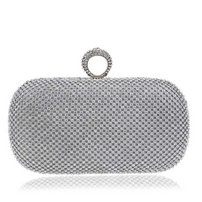 Diamond-Studded Crystal Chain Wedding Handbags | Bridelily - YM1000silver / China - wedding handbags