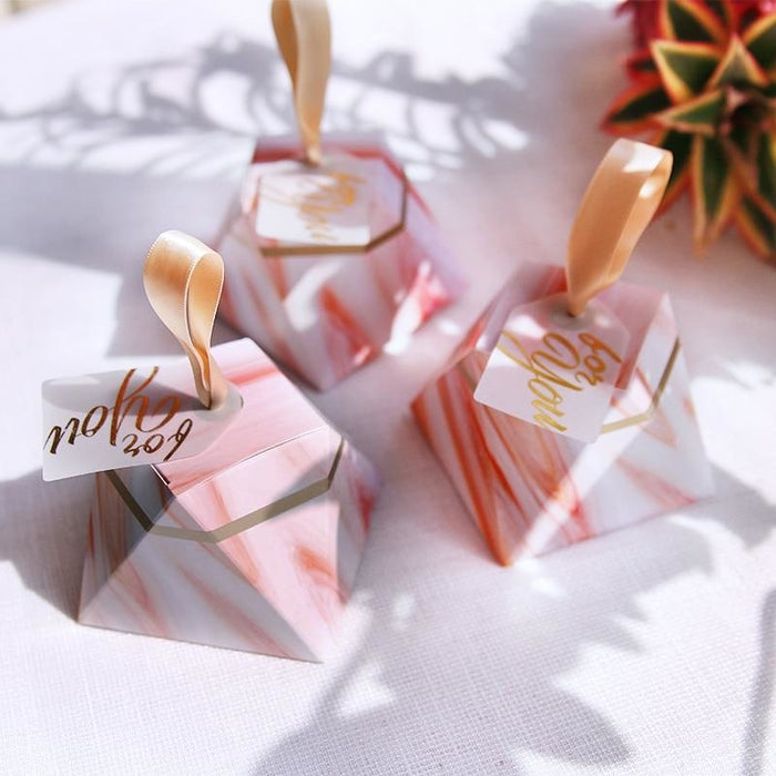 Diamond Sunset Glow With Ribbon Favor Holders | Bridelily - favor holders