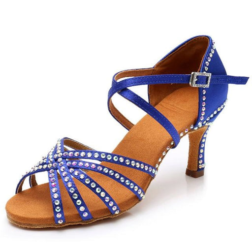Diamond Thickened Sole Soft Latin Dance Shoes | Bridelily - Blue 5CM Heel / 3.5 - latin dance shoes