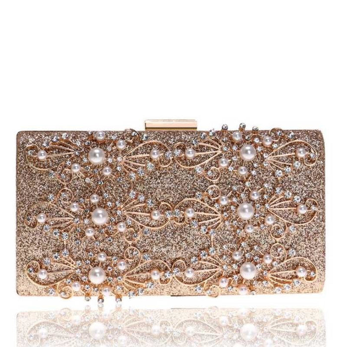 Diamond Totes Pearls Clutches Wedding Handbags | Bridelily - gold / Mini(Max Length<20cm) - wedding handbags