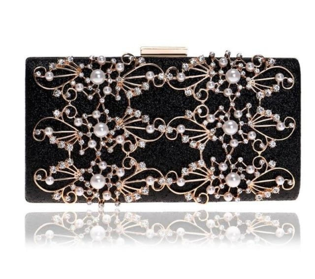 Diamond Totes Pearls Clutches Wedding Handbags | Bridelily - black / Mini(Max Length<20cm) - wedding handbags
