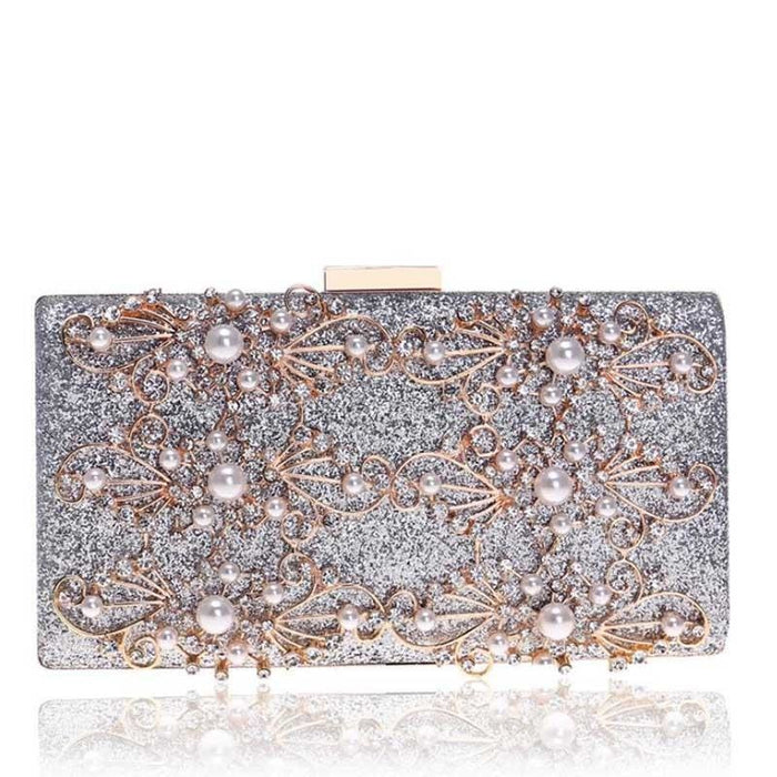Diamond Totes Pearls Clutches Wedding Handbags | Bridelily - silver / Mini(Max Length<20cm) - wedding handbags