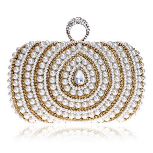 Diamonds Finger Ring Chain Small Wedding Handbags | Bridelily - YM1084gold - wedding handbags