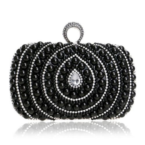 Diamonds Finger Ring Chain Small Wedding Handbags | Bridelily - YM1084black - wedding handbags