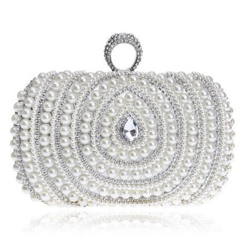 Diamonds Finger Ring Chain Small Wedding Handbags | Bridelily - YM1084silver - wedding handbags
