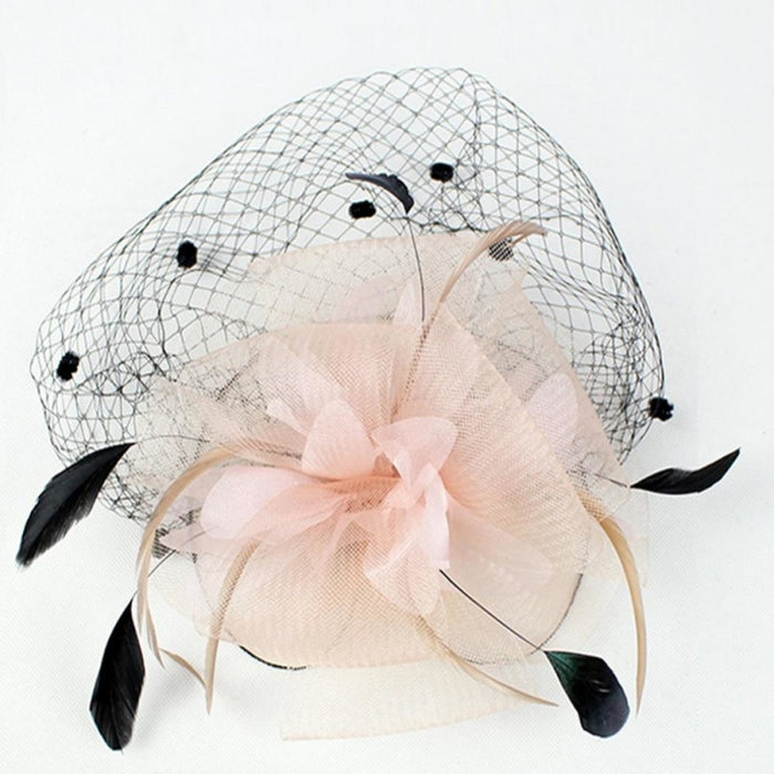 Dot Mesh Veil Feather Floral Clips Fascinators | Bridelily - fascinators