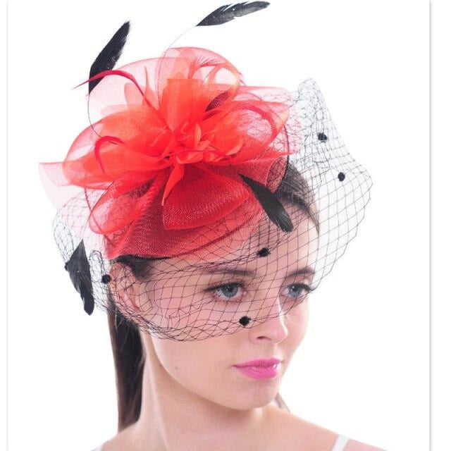 Dot Mesh Veil Feather Floral Clips Fascinators | Bridelily - Red - fascinators