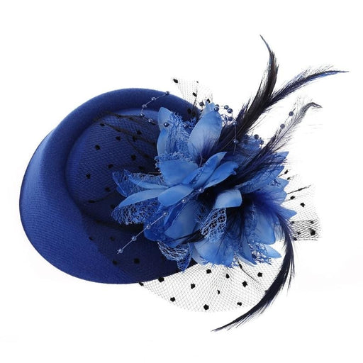 Dots besded Feather Flower Clips Fascinators | Bridelily - Blue - fascinators