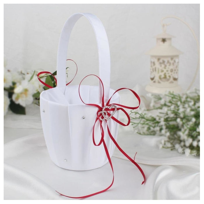 Double Heart White Satin Wedding Flower Baskets | Bridelily - flower baskets