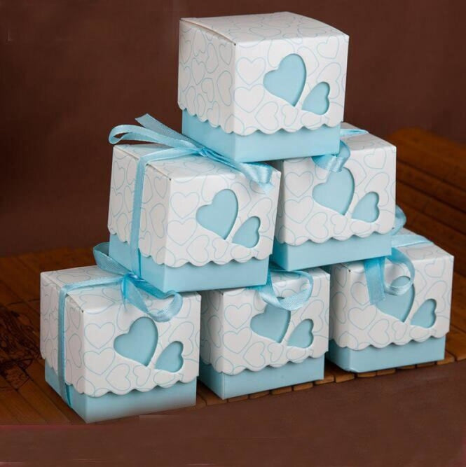 Double Heart With Ribbon Favor Holders (20Pcs) | Bridelily - Sky blue - favor holders