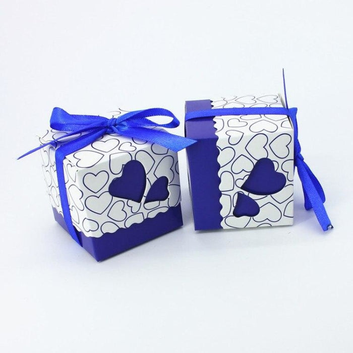 Double Heart With Ribbon Favor Holders (20Pcs) | Bridelily - favor holders