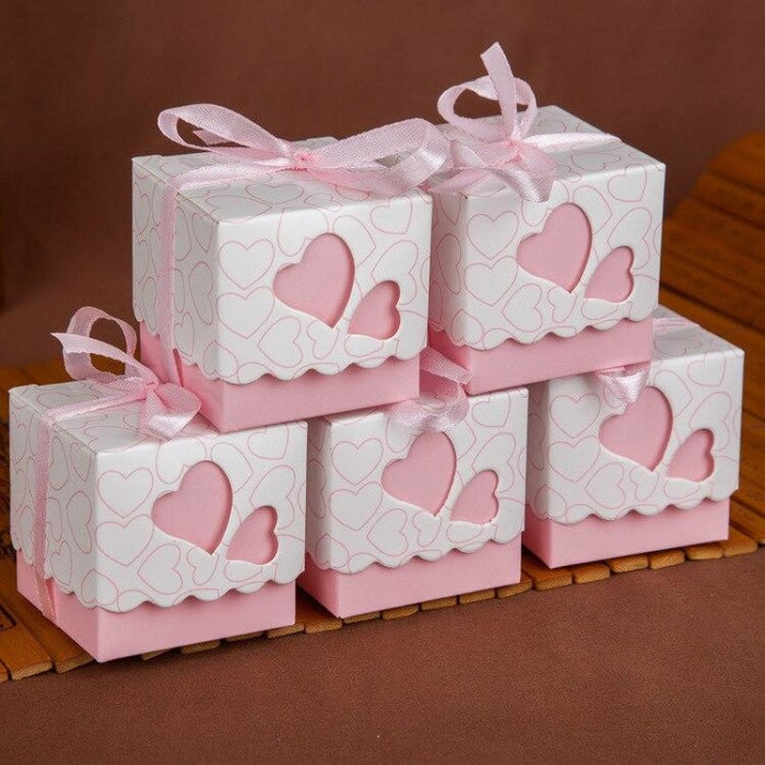 Double Heart With Ribbon Favor Holders (20Pcs) | Bridelily - Pink - favor holders