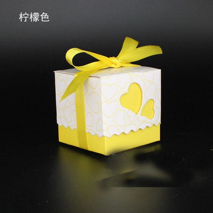 Double Heart With Ribbon Favor Holders (20Pcs) | Bridelily - Fluorescence Yellow - favor holders