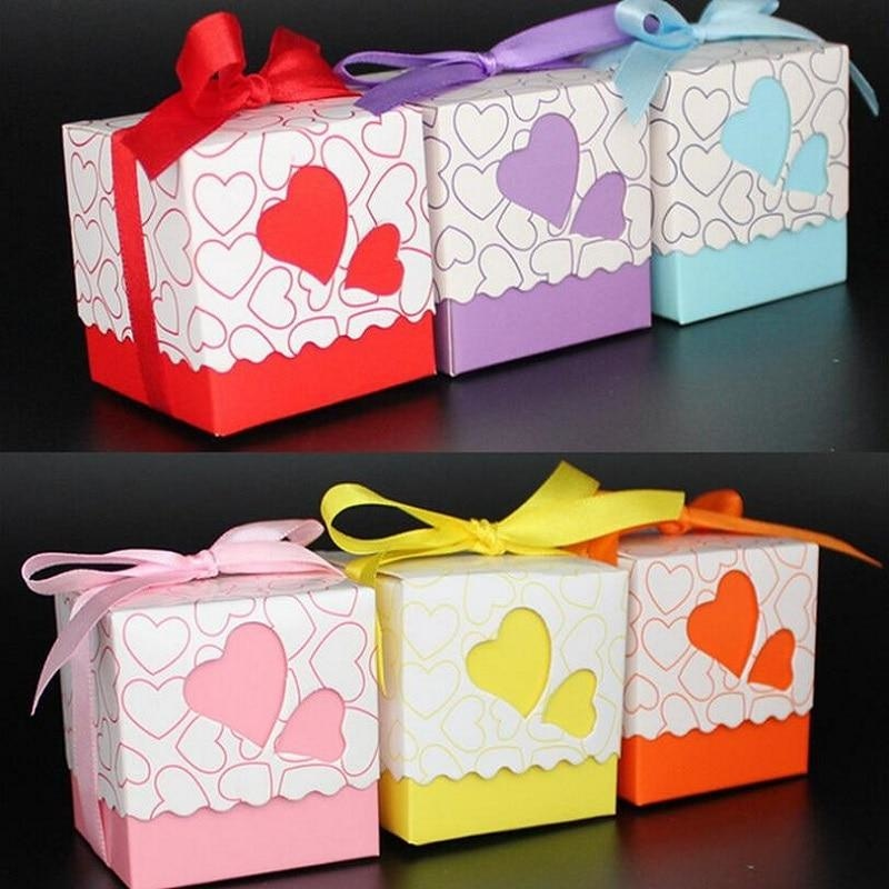 Double Heart With Ribbon Favor Holders (20Pcs) | Bridelily - Red - favor holders