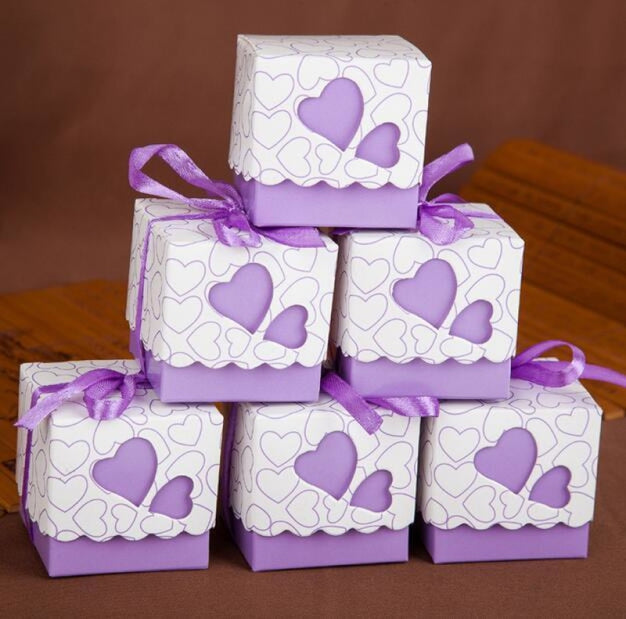 Double Heart With Ribbon Favor Holders (20Pcs) | Bridelily - Purple - favor holders