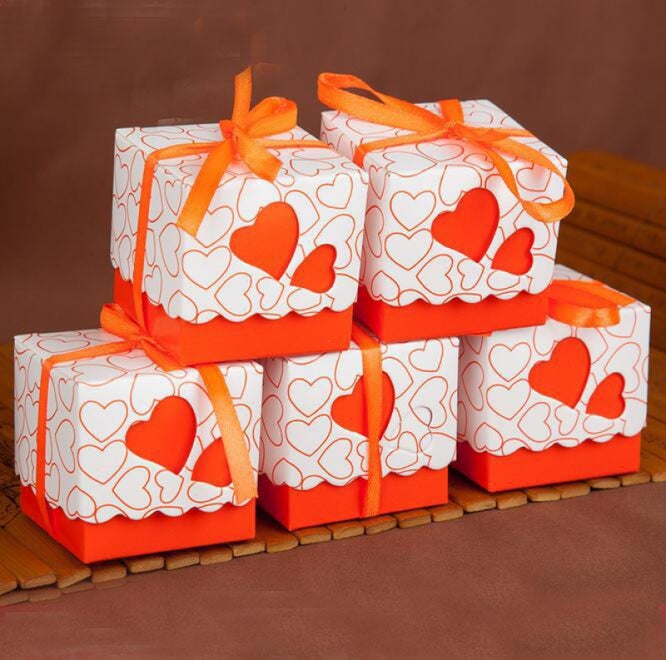 Double Heart With Ribbon Favor Holders (20Pcs) | Bridelily - Orange - favor holders