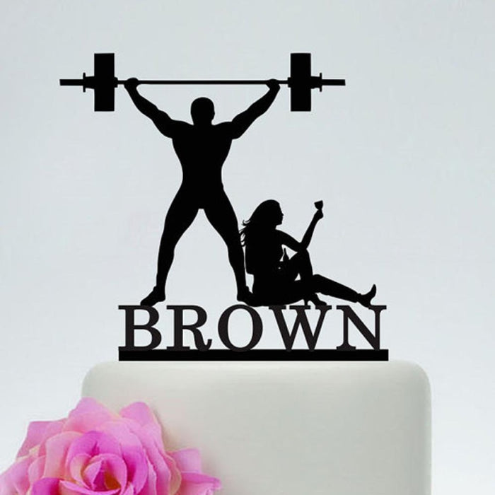 Drunk Bride Weight Lifting Groom Cake Toppers | Bridelily - cake toppers