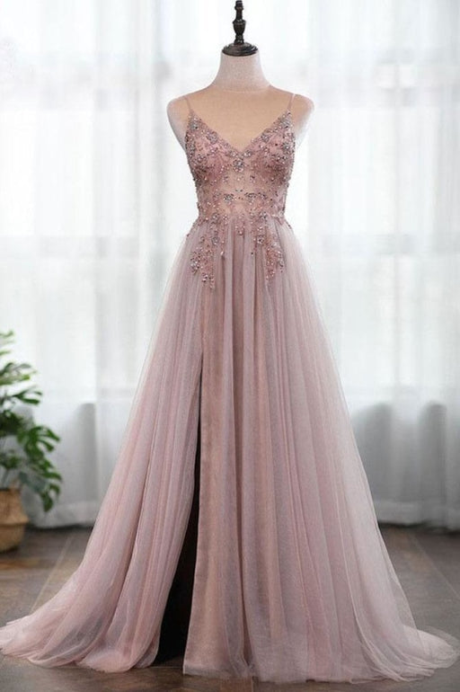 Dusty Pink Spaghetti Straps Gorgeous Beading Prom Dress A Line Split Tulle Evening Dresses - Prom Dresses
