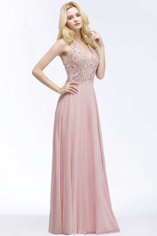 Dusty Rose Evening Dress Lace Chiffon Long Bridesmaid Dresses - Prom Dress