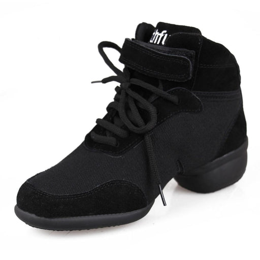Elastic Band Plat Canvas Black Jazz Dance Shoes | Bridelily - jazz dance shoes