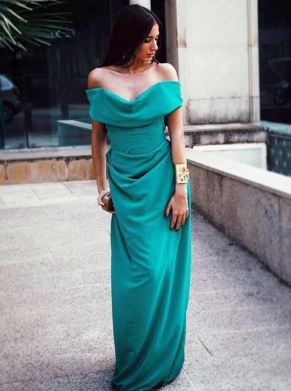 Elegant A-Line Long Green Chiffon Bridesmaid Dress - Bridesmaid Dresses