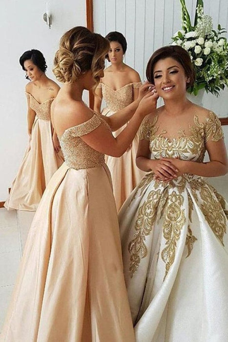 Elegant A Line Off the Shoulder Bridesmaid Dress - Bridesmaid Dresses