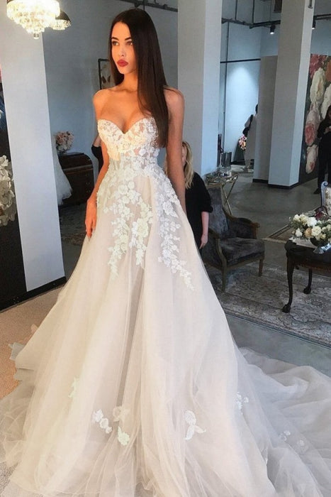 Elegant A Line Sweetheart Tulle Lace Applique Ivory Wedding Long Dress - Wedding Dresses