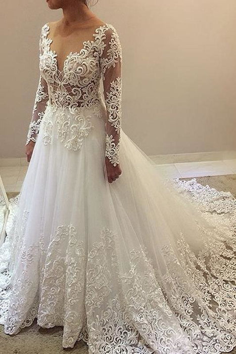 Elegant Beading Lace Long Sleeve Sheer Neck Ball Gown Wedding Dress - Wedding Dresses