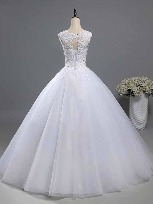 Elegant Beads Lace-Up Ruffles Wedding Dresses - wedding dresses