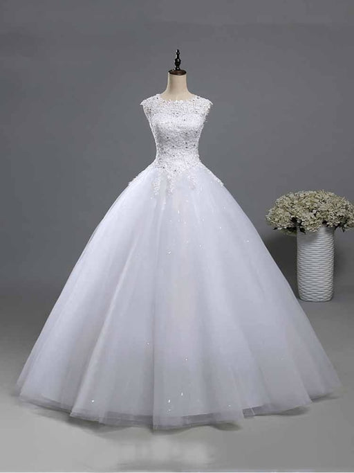 Elegant Beads Lace-Up Ruffles Wedding Dresses - Pure White / Floor Length - wedding dresses