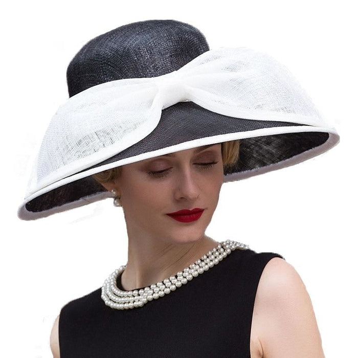 Elegant Black Wide Brim Bow Kentucky Derby Hats | Bridelily - kentucky derby hats