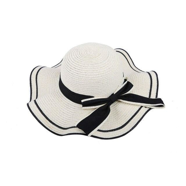 Elegant Bow Wave With Black Ribbon Straw Hats | Bridelily - White Straw Hat / One Size - straw hats