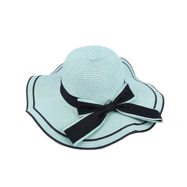 Elegant Bow Wave With Black Ribbon Straw Hats | Bridelily - Blue Straw Hat / One Size - straw hats