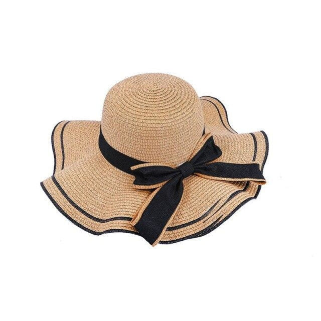 Elegant Bow Wave With Black Ribbon Straw Hats | Bridelily - Brown Straw Hat / One Size - straw hats