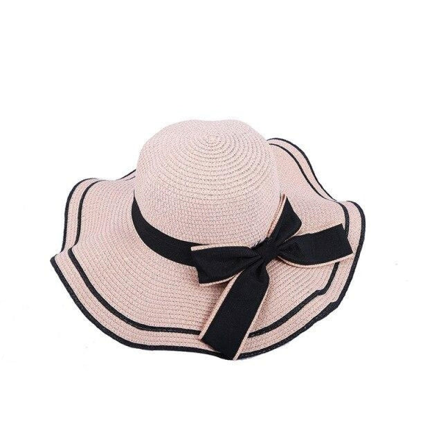Elegant Bow Wave With Black Ribbon Straw Hats | Bridelily - Pink Straw Hat / One Size - straw hats