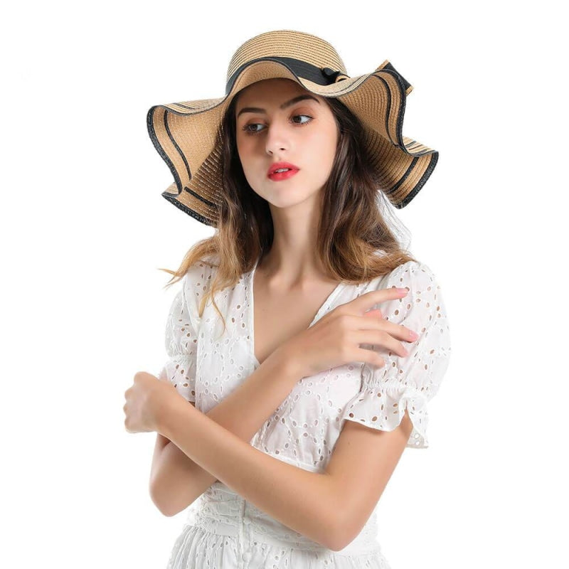 Elegant Bow Wave With Black Ribbon Straw Hats | Bridelily - straw hats