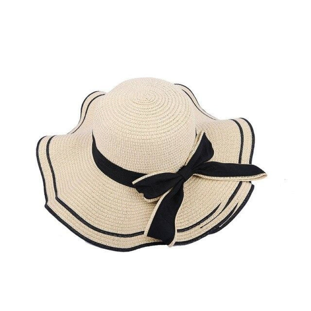 Elegant Bow Wave With Black Ribbon Straw Hats | Bridelily - Beige Straw Hat / One Size - straw hats