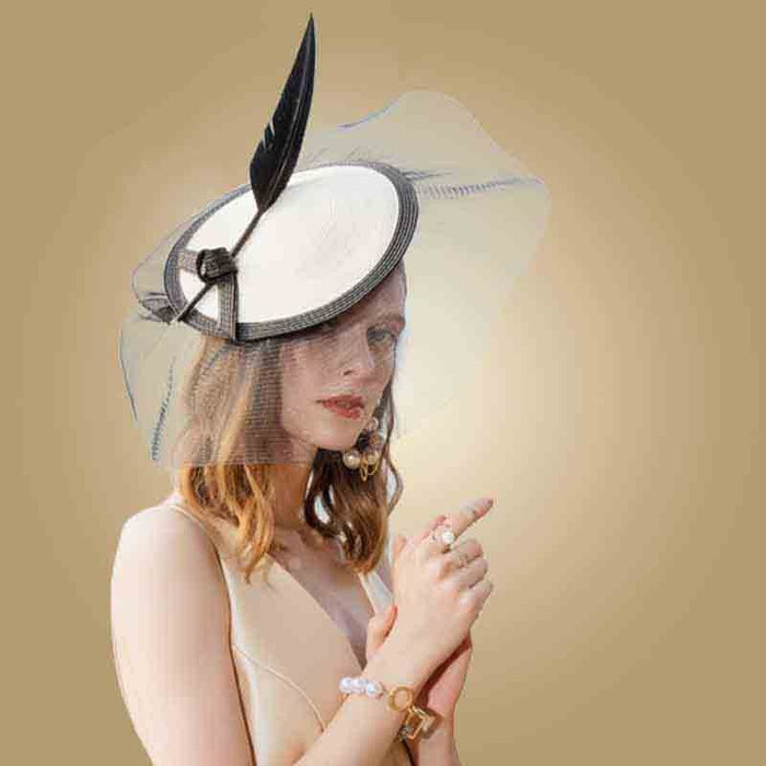Elegant British Feather Veils Tea Party Hats | Bridelily - Black White Hat - tea party hats