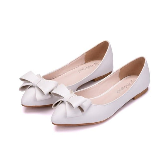 Elegant Butterfly Knot Wedding Flats | Bridelily - white / 34 - wedding flats