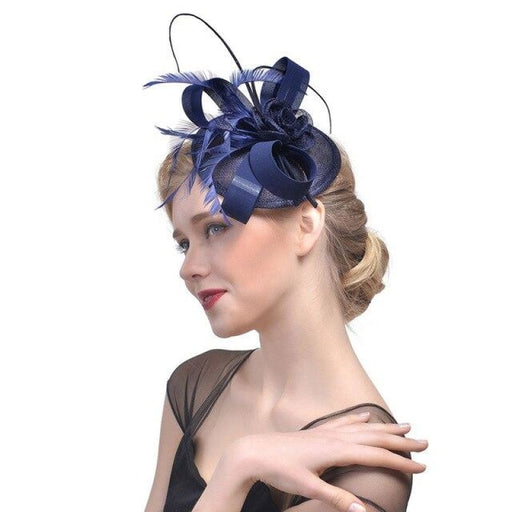 Elegant Cocktail Cotton Mesh Tea Party Hats | Bridelily - Navy - tea party hats