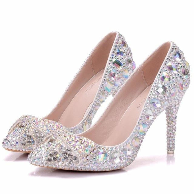 Elegant Crystal High Heel Wedding Pumps | Bridelily - ab / 34 - wedding pumps