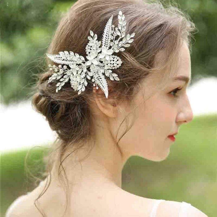 Elegant Crystal Leaf Flowers Floral Headpieces | Bridelily - Silver Plated - floral headpieces