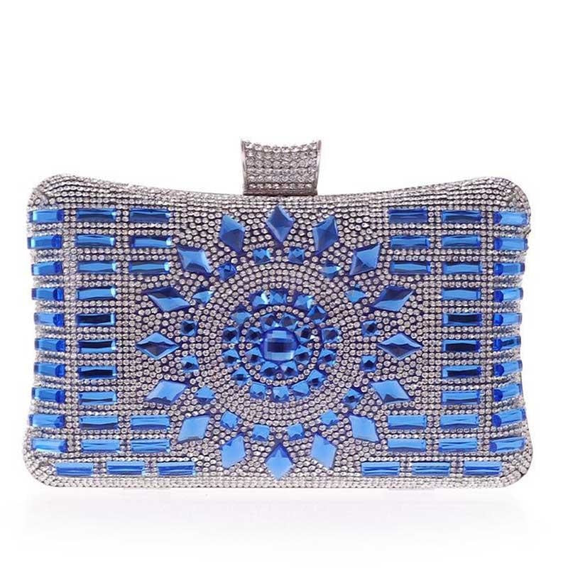 Elegant Diamond Silver Glass Wedding Handbags | Bridelily - blue - wedding handbags