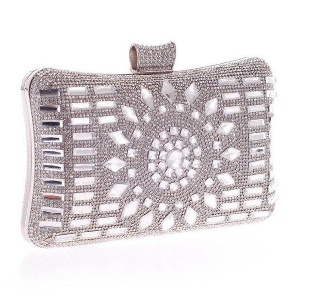 Elegant Diamond Silver Glass Wedding Handbags | Bridelily - silver - wedding handbags