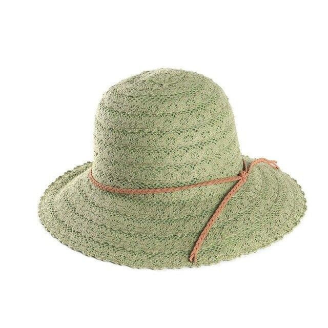 Elegant Foldable Solid Hollow Lace Straw Hats | Bridelily - Light Green Sun Hats - straw hats