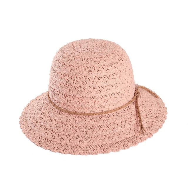 Elegant Foldable Solid Hollow Lace Straw Hats | Bridelily - Pink Sun Hats - straw hats