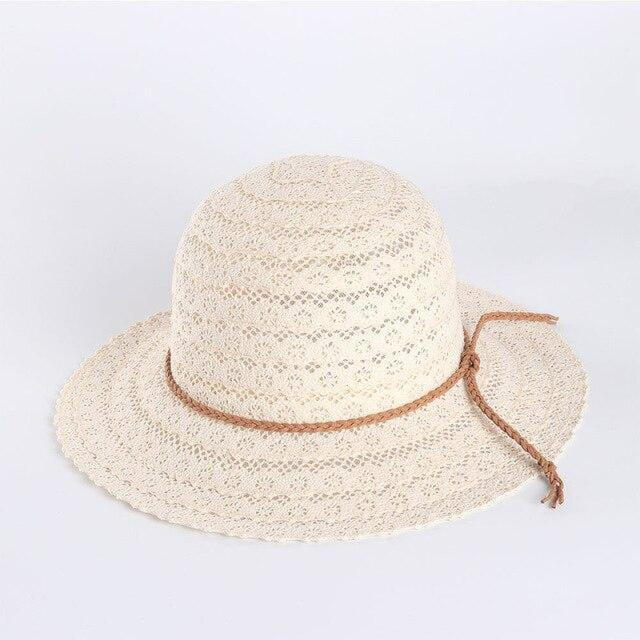 Elegant Foldable Solid Hollow Lace Straw Hats | Bridelily - Beige Sun Hats - straw hats